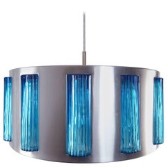 Midcentury Swedish Modern Blue Glass Drum Pendant by Orrefors Attributed, 1960s