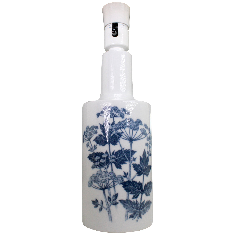 Fog & Morup for Royal Copenhagen Porcelain White and Blue Parsnips Lamp, 1960s