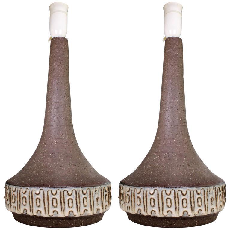 Pair of Michael Andersen Danish Modern Brown and Cream White Lamps, 1960s