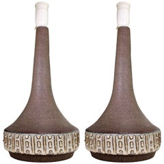 Set of Michael Andersen Ceramic Danish Modern Brown, Cream White Lamps, 1960s