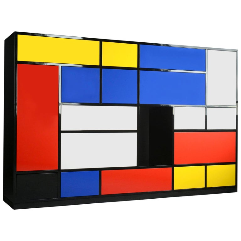 Le Mondrian Sideboard High Lacquered with 16 Adjustable Drawers For Sale