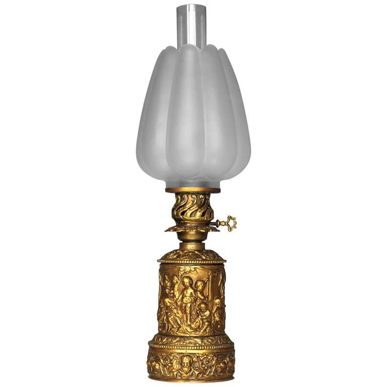 19th Century High Relief Gilded Bronze Oil Lamp Electrified