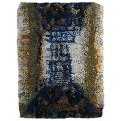 Blue and Green Vintage Rya Rug from Finland