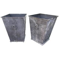 Pair of Handsome Large Steel Planters