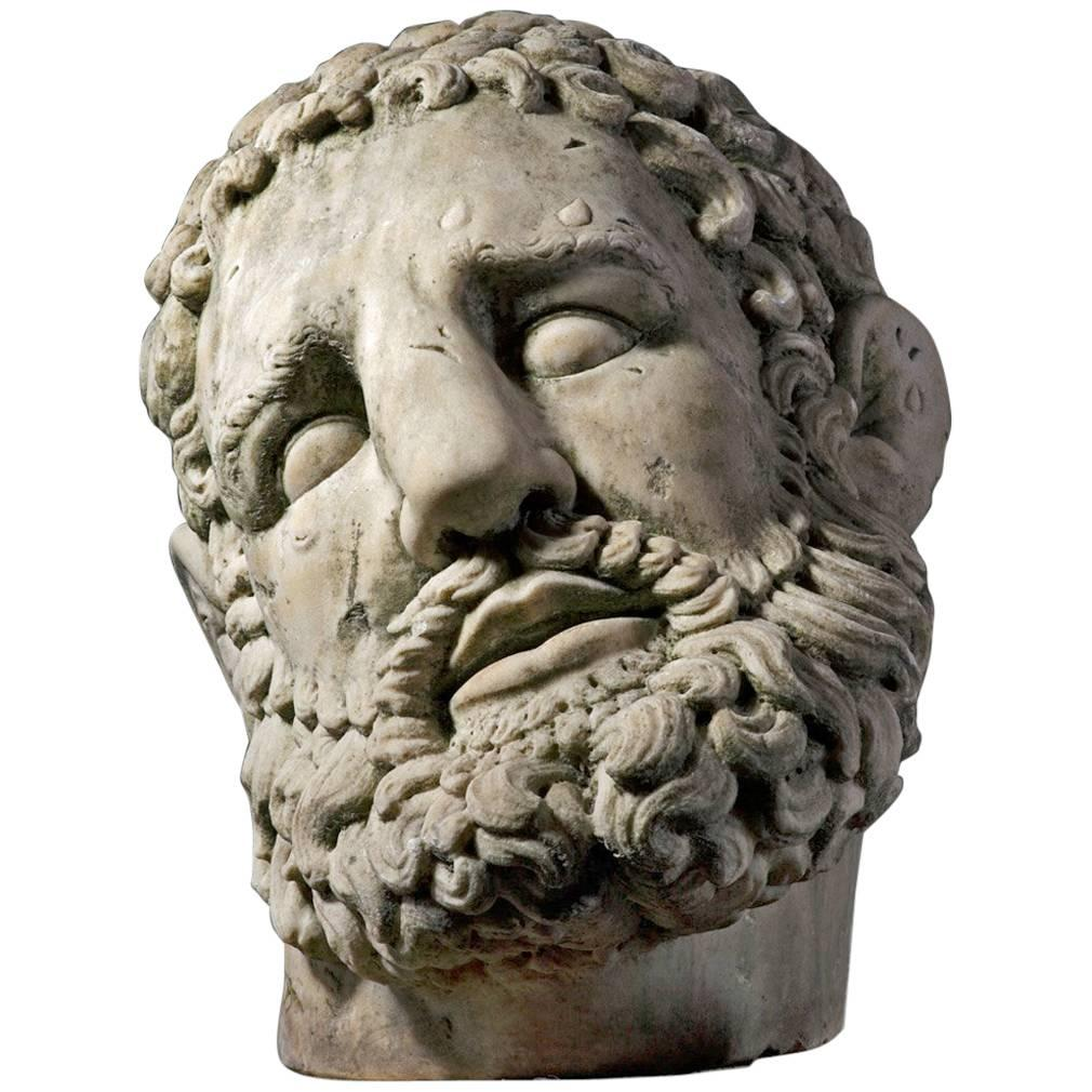 Colossal Sculpted White Marble Head of Hercules in the Manner of the Antique
