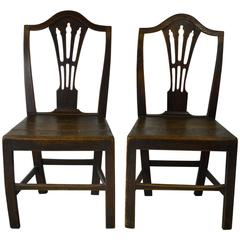 Pair of Antique Oak Country Hepplewhite Chairs