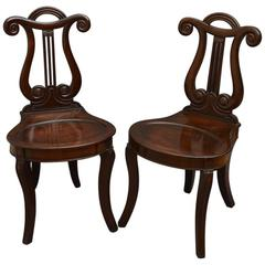 Pair of William IV Hall Chairs in Mahogany