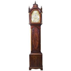18th Century Flame Mahogany and Inlaid Longcase Clock, William Pridgin Hull