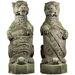 19th Century English Finials Carved as Heraldic Lions