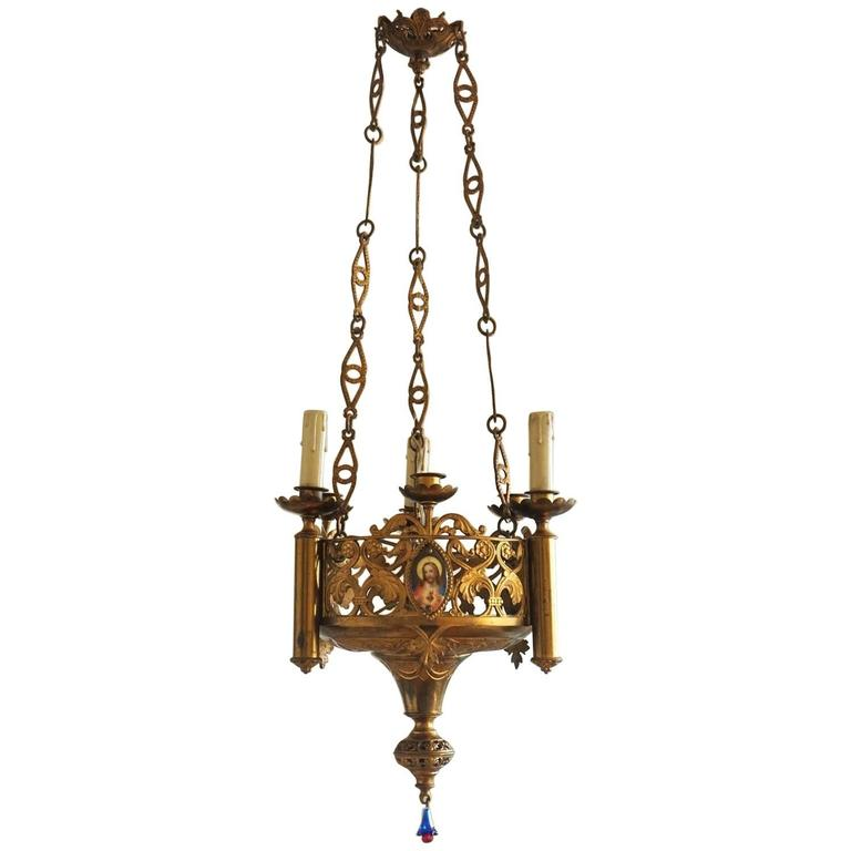 18th Century Gothic Revival Fire-Gilded Bronze Sanctuary Lamp, Church Lantern