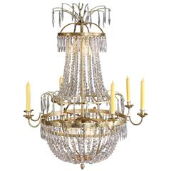 Antique Swedish Chandelier in Classicism Style