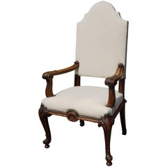 Antique Stunning & Hand-Carved Rococo Revival Armchair with Perfect Upholstery