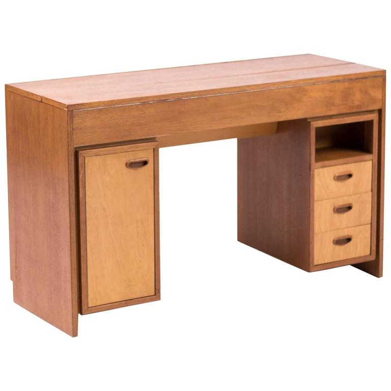 Curious Dutch Mid-Century Modern Desk in Teak