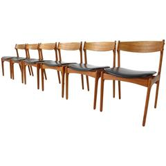 Set of Six Danish Teak Dining Chairs Designed by Erik Buch for O.D