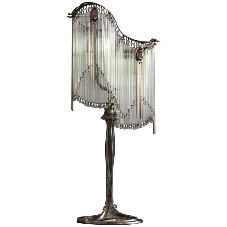 Art Nouveau Table Lamps with Bronze Majorelle Foot