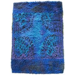 Blue Rya Rug by Ritva Puotila