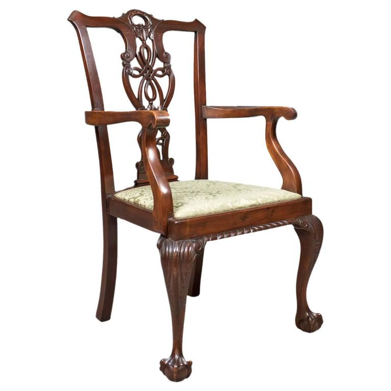 Antique Carver Chair, Victorian Chippendale Revival, circa 1890 For Sale - Antique Carver Chair, Victorian Chippendale Revival, Circa 1890 For