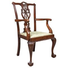 Antique Carver Chair, Victorian Chippendale Revival, circa 1890