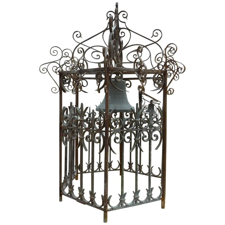Antique Cast Bronze Bell and Its Wrought-Iron Campanile Structure, Provence