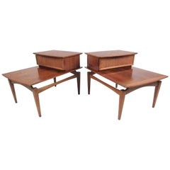 Pair of Two-Tier Floating Top End Tables by Lane Furniture
