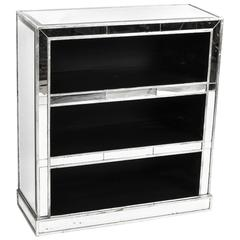 Attractive Art Deco Mirrored Bookcase DVD CD Holder, Late 20th Century