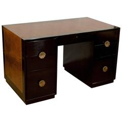 Leather Topped Charak Modenr Ebonized Desk Attributed to Parzinger