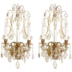 Pair of Elegant Regency Style Crystal Sconces, Chased Gilt Metal Three-Light