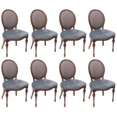 Eight Maybrook Mansion Mahogany Balloon Back Dining Chairs, Nicely Carved Legs