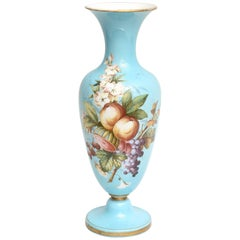 Tall Opaline Glass Vase with Hand-Painted Florals, Attributed to Baccarat