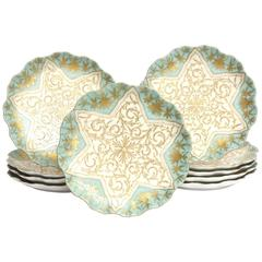 Ten Elaborately Decorated Turquoise Gilt Dessert or Display Plates, 19th Century