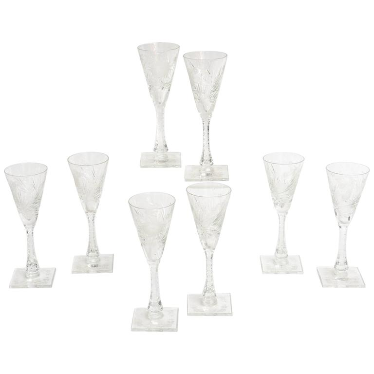 Eight Interesting Cut Crystal Signed Hawkes Cocktail or Champagne Glasses