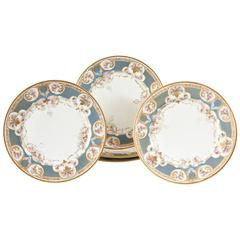 Pretty Turquoise and Rose Pink Dinner Plates, Antique, circa 1900