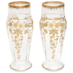 Pair of Tall Antique Gilded Crystal Vases, Beautifully Designed and Elegant