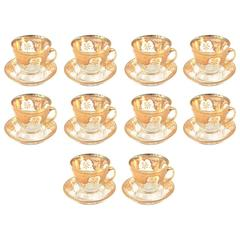 10 Sets (20 Pieces) of Antique Gilded Glass Tea Cup and Saucers