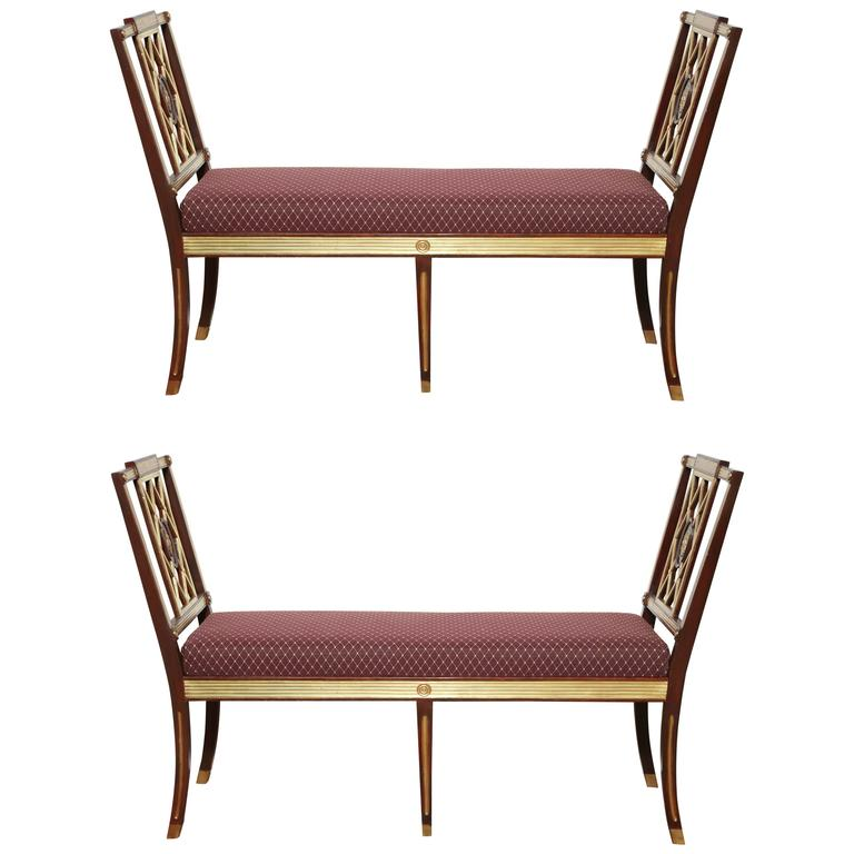 Pair of Russian Neoclassic Benches For Sale