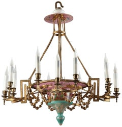 Napoleon III Opaline and Gilt Bronze Chandelier with 12 Lights
