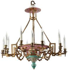 Napoleon III Opaline and Gilt Bronze Chandelier with 12 Lights