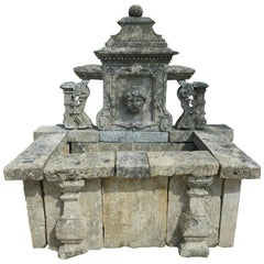 19th Century Ornamental Wall-Fountain Hand-Sculpted in French Stone, Provence