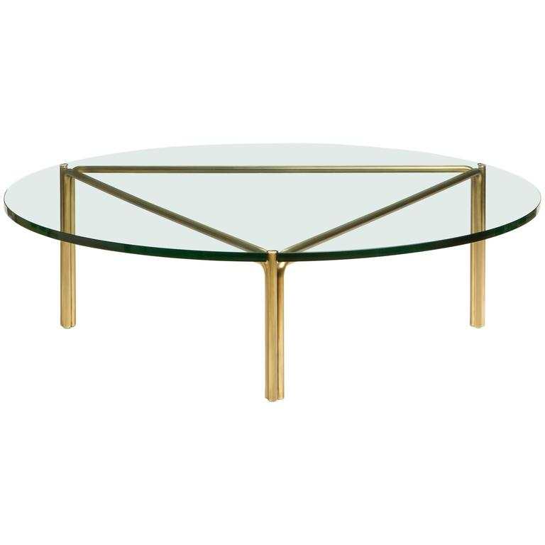 CA4G Contemporary Handcrafted Minimalist Modern Round Glass Coffee Table