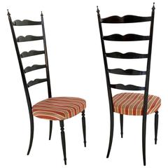 Pair of Ebonized Beech Chiavari Chairs, Italy, 1950s