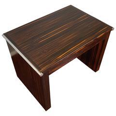 Art Deco Macassar & Metal End Table or Pedestal Attributed to De Coene Belgium