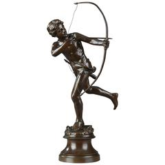 """Bronze Sculpture """"the Young Archer"""" by Antoine Bofill, 1875-1921"""