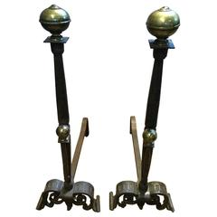 Impressive Very Old French Hand-Wrought Iron Andirons with Brass Finials