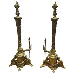 Pair of Lovely 19th Century French Regency Brass Andirons