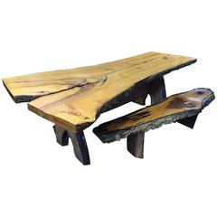 handmade live edge dining table and matching benches