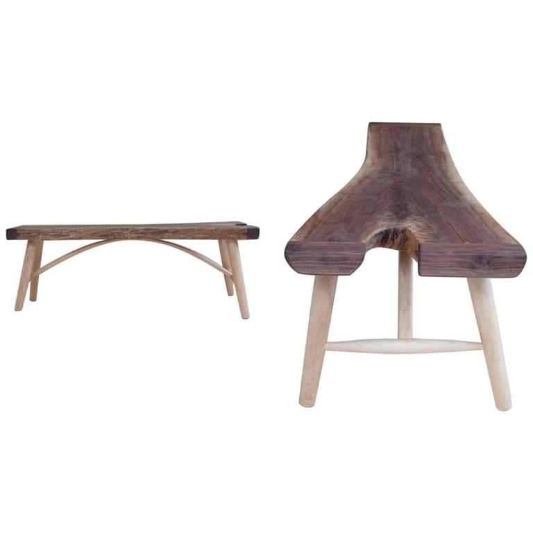 Hudson Live Edge Arched Bench or Coffee Table by Hudson Workshop in Black Walnut