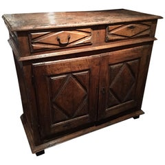 French Walnut Buffet with Two Drawers and Two Doors, 18th Century