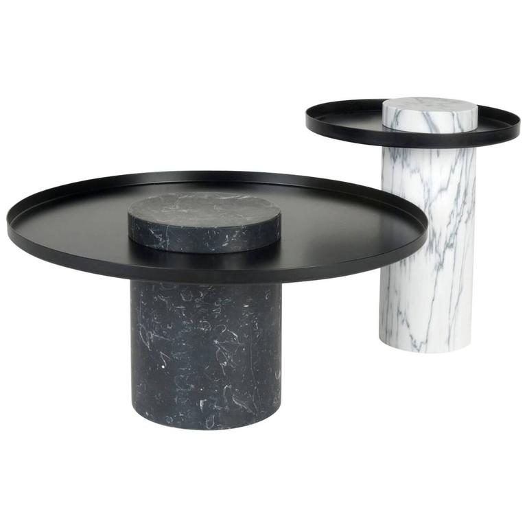 White Coffee Table Tray: Low Salute Coffee Table, White Marble, Black Tray For Sale
