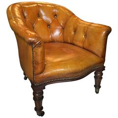 English Rosewood and Leather Armchair, 19th Century