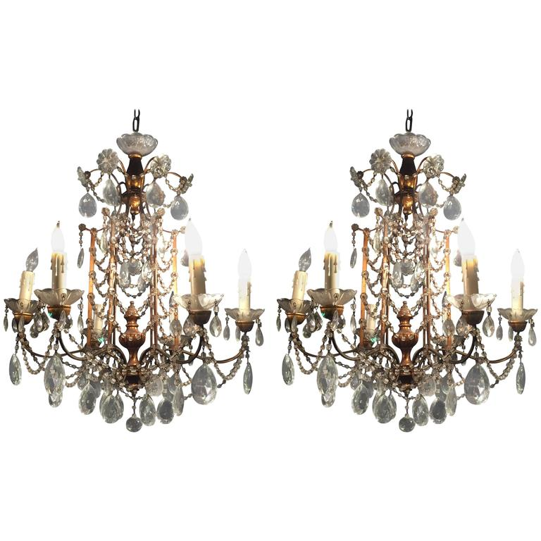 Pair of 1920s crystal and gilded wood italian chandeliers for sale pair of 1920s crystal and gilded wood italian chandeliers for sale aloadofball Images